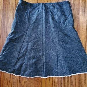 Misty grey and white flare bottom skirt